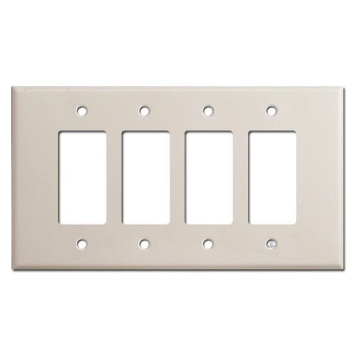 Oversized 4 Rocker Switch Plate Covers - Light Almond