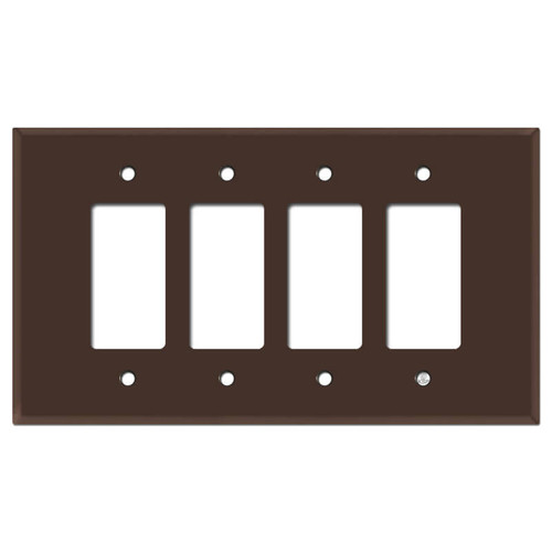 Oversized Four Gang 4 GFCI Decora Rocker Switch Plate - Brown