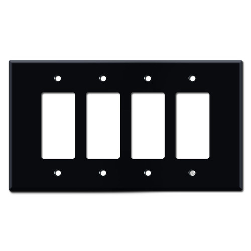 Oversized 4-Gang Four Decora Rocker GFI Switch Plate Cover - Black