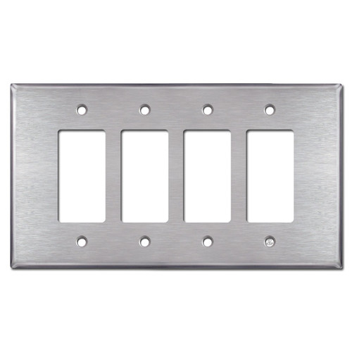 Oversized 4 Rocker Light Switch Wall Plate - Satin Stainless Steel
