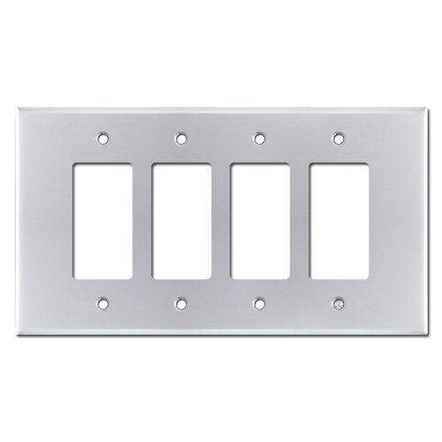 Oversized 4 Gang Decora Rocker Light Switch Cover - Polished Chrome