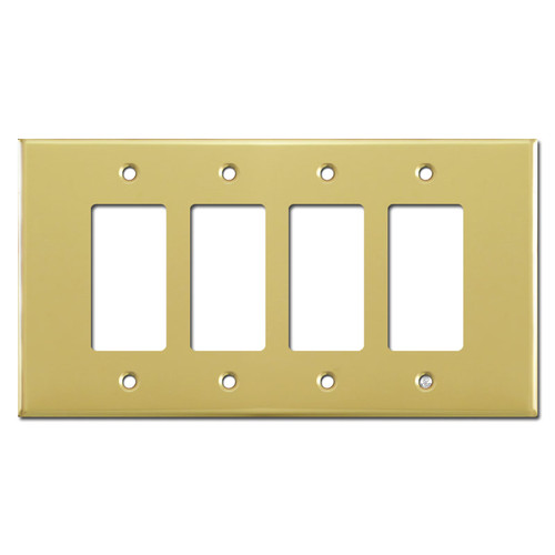 Oversized Four Gang 4 Rocker Wall Plate - Polished Brass