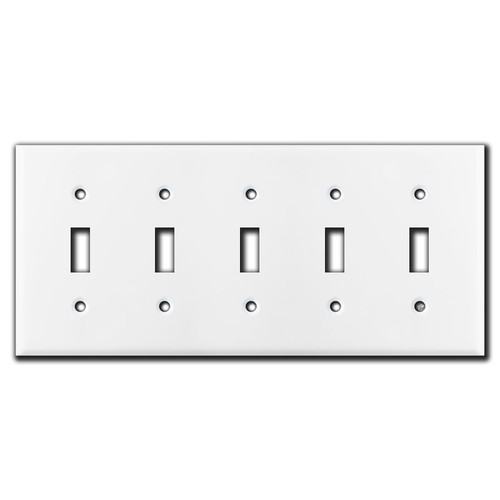 5 Toggle Light Switch Wall Plate - White
