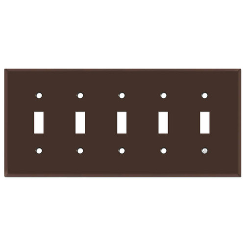 5 Toggle Switch Plates - Brown