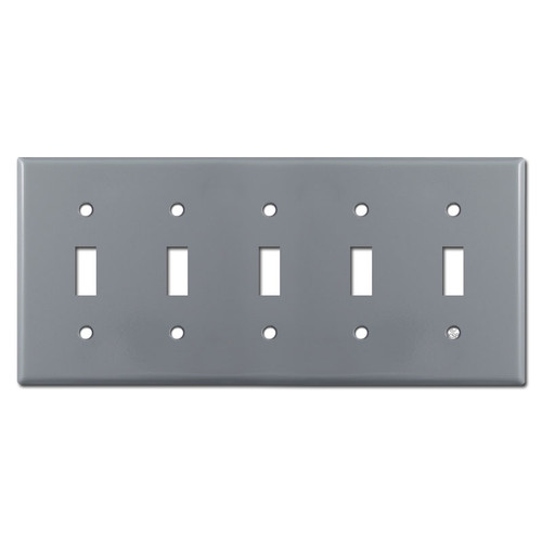 5 Toggle Switch Plate Covers - Gray
