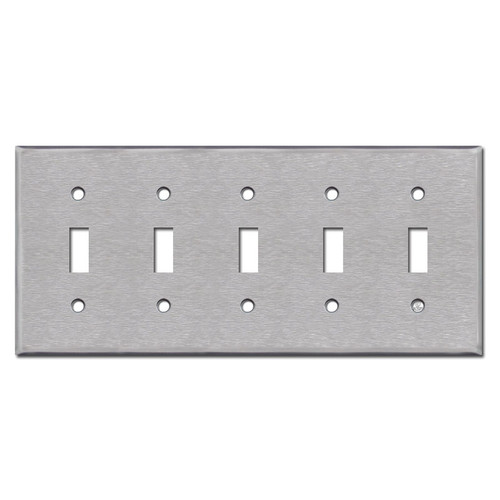 5 Gang Toggle Stainless Steel Switch Plates