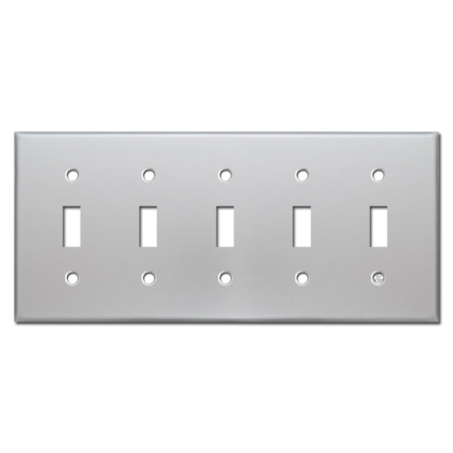 5 Gang Toggle Light Switch Plate Cover - Brushed Aluminum
