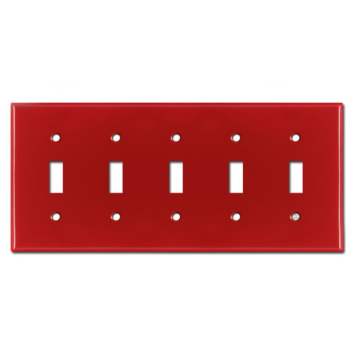 5 Toggle Switch Plates - Red