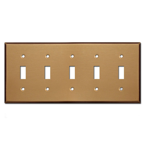 5 Toggle Switch Wall Plates - Satin Bronze