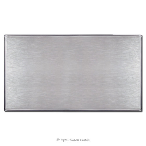 4 Gang All Blank Switch Plate with No Holes - Satin Stainless Steel