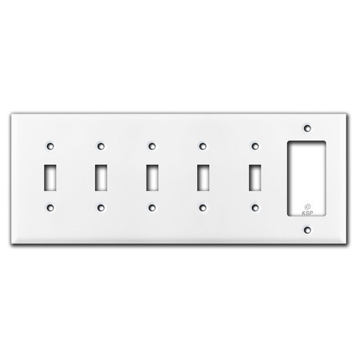 Five Toggles & One Decora Rocker Switch Plate Covers - White