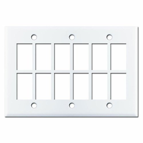 New Style White GE Low Voltage 12 Switch Control Plate