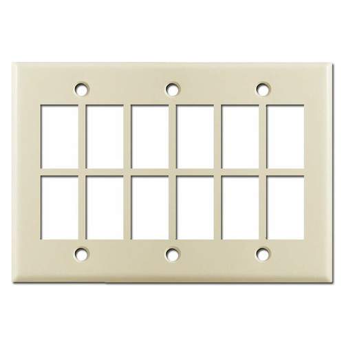 New Style Master Controller GE Low Voltage 12 Switch Plate - Ivory
