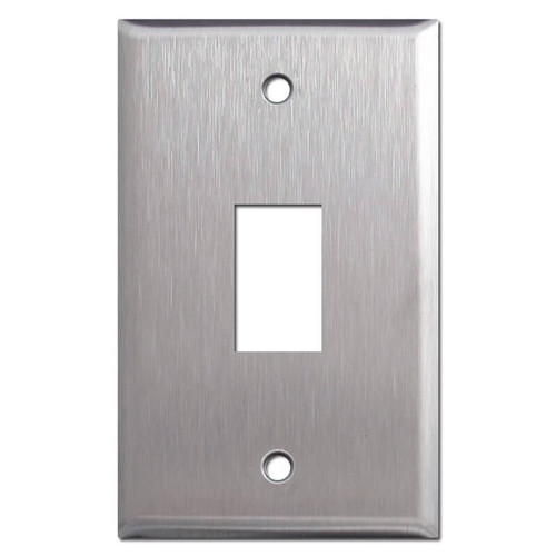 New Style 1 Vertical GE Low Voltage Wall Switchplate - Stainless Steel