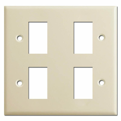 New Style 2 Gang 4 Switch Vintage GE Low Voltage Wall Plates - Ivory