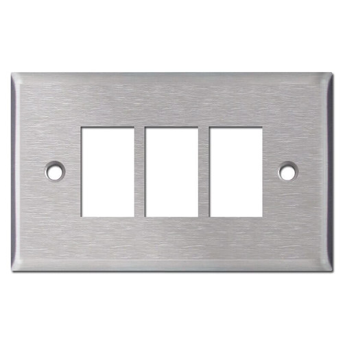 New Style Vintage Replacement 3 GE Low Voltage Switchplate - Stainless