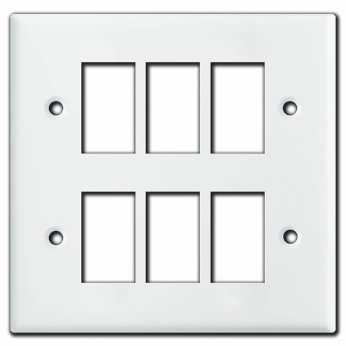 New Style 2 Gang Vintage GE Low Voltage 6 Switch Plate Covers - White