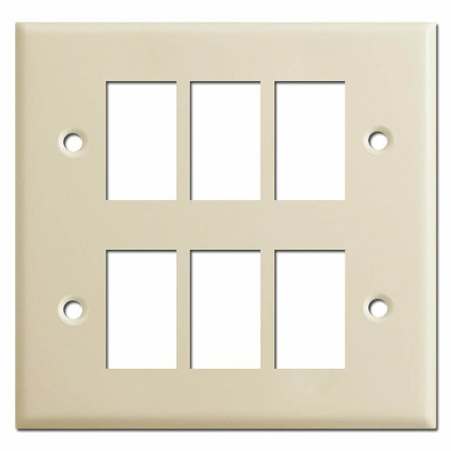 New Style 2 Gang 6 Switch Vintage GE Low Voltage Wall Plates - Ivory