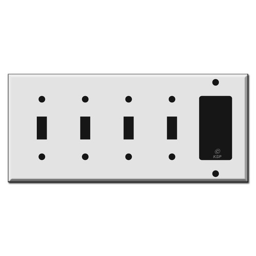 4 Toggle 1 Rocker Switch Plate
