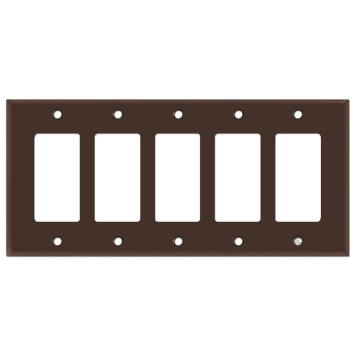 5-Gang Five Decora Rocker Switch Plate Cover - Brown