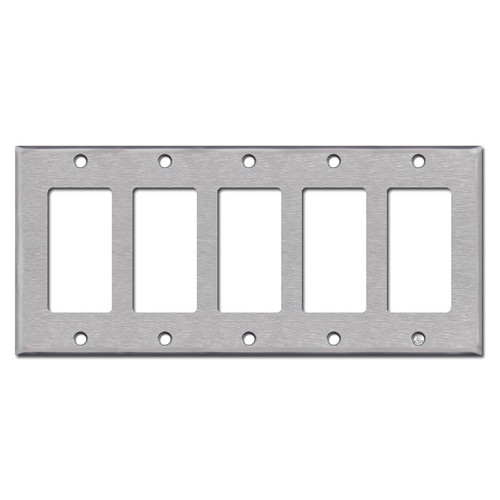 Stainless Steel 5 Gang GFCI Decora Rocker Switch Plate