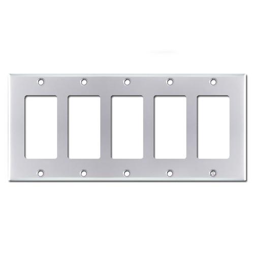 5 Rocker GFI Switch Plate Cover - Polished Chrome