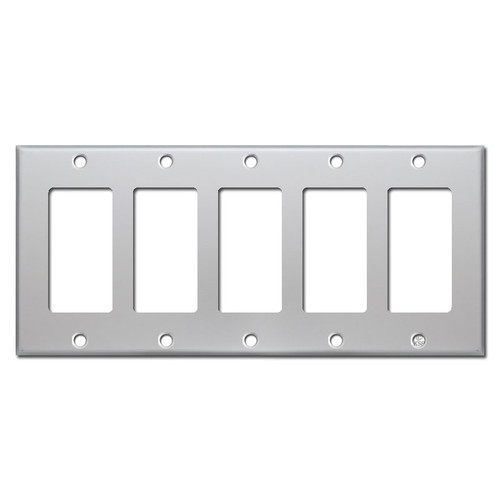 5 Rocker Light Switch Covers - Brushed Aluminum