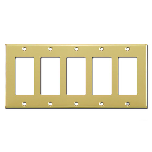 5 Rocker Switch Plates - Polished Brass