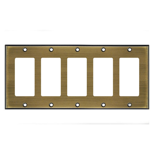 5-Gang Five Rocker Switch Plate Covers - Antique Brass