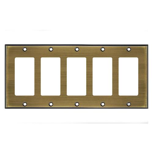 5-Gang Five Rocker Switch Plate Covers - Antique Brass