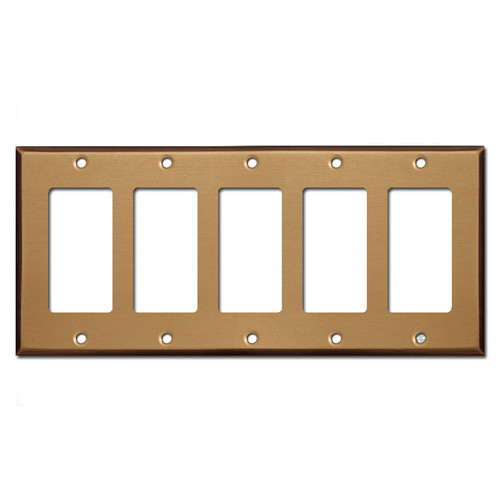 5 Rocker Switch Wall Plate - Satin Bronze