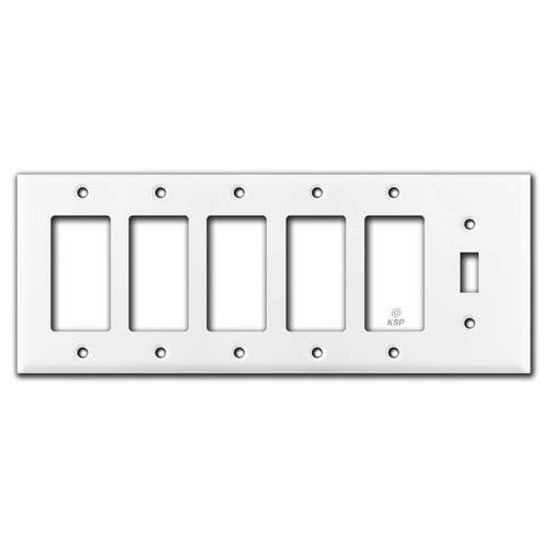 5 Decora Rocker 1 Toggle Switch Wall Plate Cover - White
