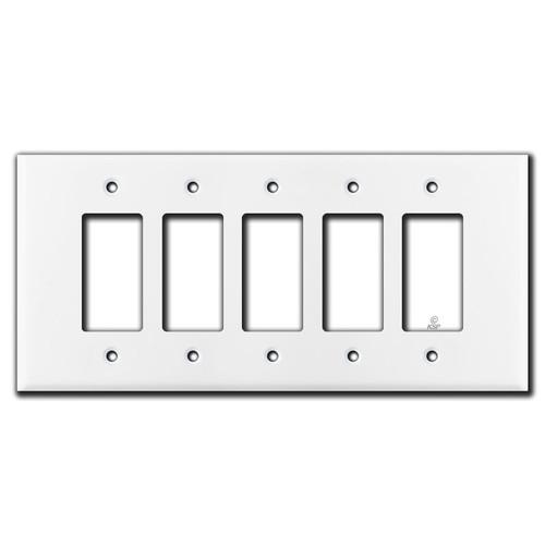 Oversized 5 Decora Rocker Switch Plate Cover - White