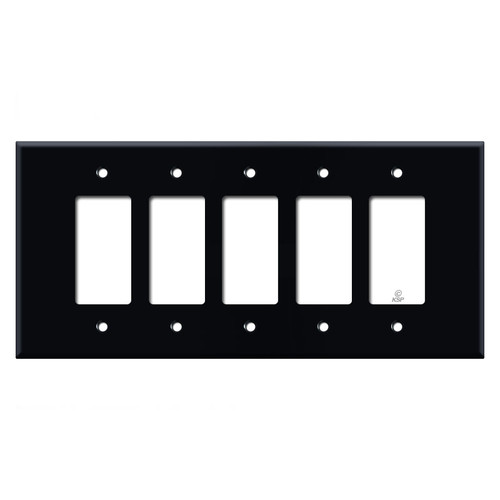 Oversized 5 Decora Rocker Switch Plate - Black