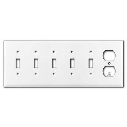 5 Toggle & 1 Duplex Outlet Switch Plate Cover - White