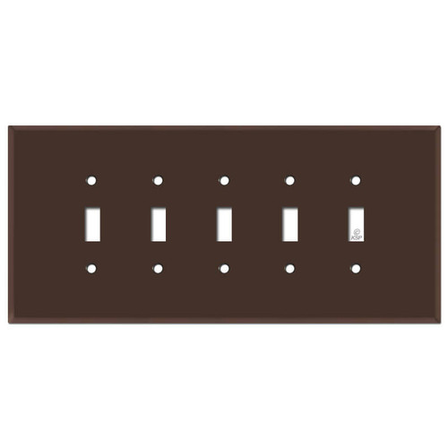 Jumbo Five Gang 5 Toggle Switch Plate Cover - Brown