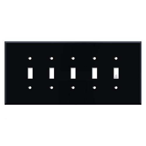 Oversized 5 Toggle Switch Wall Plate - Black