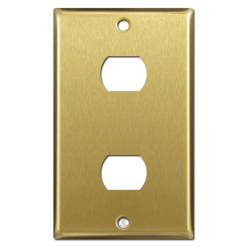Two Space Despard Switch Plate - Satin Brass