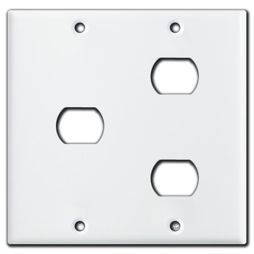 Combination 1 & 2 Hole Two-Gang Despard Switch Plates - White