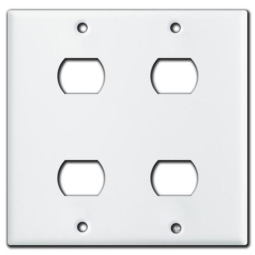 Double Gang 4 Stacked Switch Despard Wall Plate - White