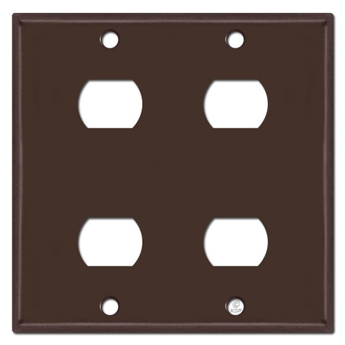2 Gang Four Stacked Switch Despard Wallplate - Brown