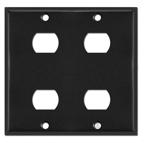 Two-Gang 2 Stacked Despard Switch Plate for 4 Tandem Devices - Black