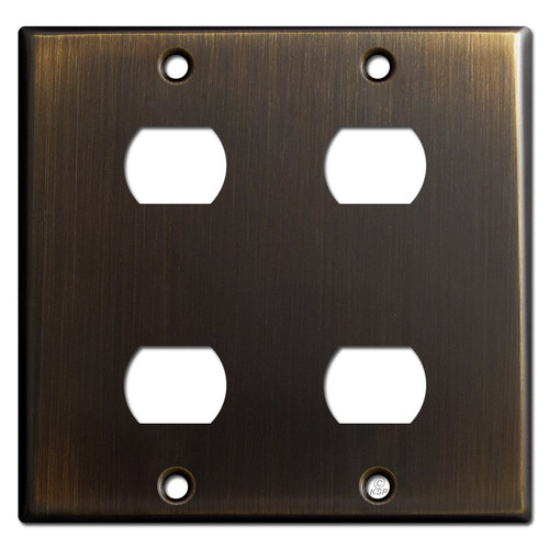 Double Gang 4 Despard Device Wall Switch Plate - Oil Rubbed Bronze