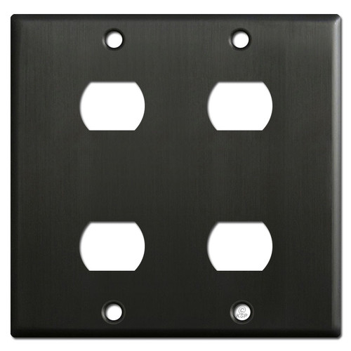 Double Gang 4 Tandem Despard Switch Wallplate - Dark Bronze