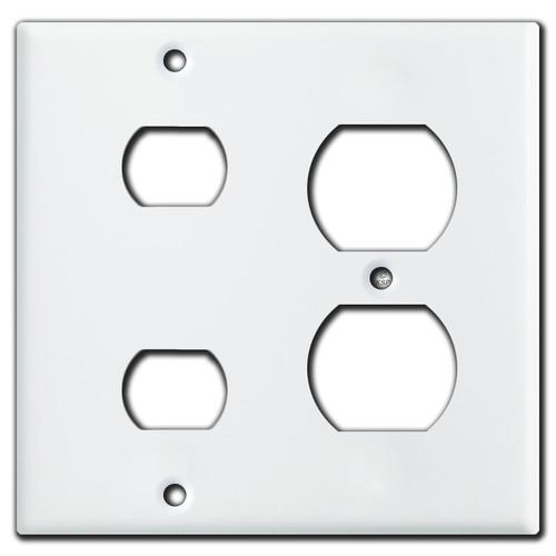 1 Duplex Receptacle 2 Despard Combo Switch Wallplate - White