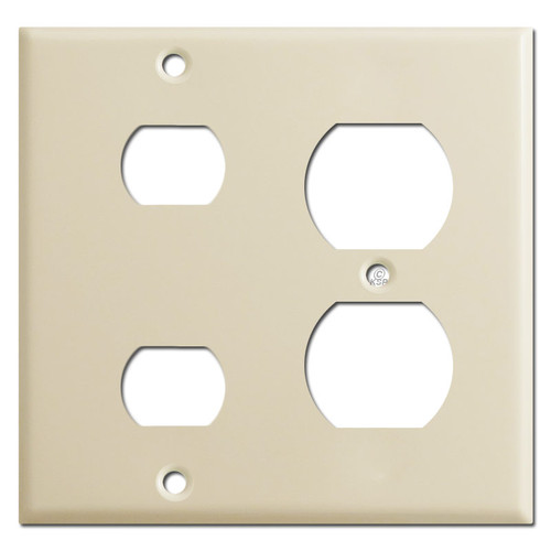 Duplex Outlet & Two Despard Combo Switch Plate Covers - Ivory