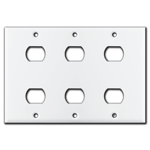 3-Gang 2 Opening Despard Switch Covers for Six Switches - White