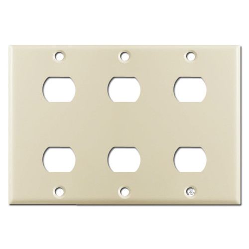 Triple Gang 6 Despard Switch Wall Plate - Ivory