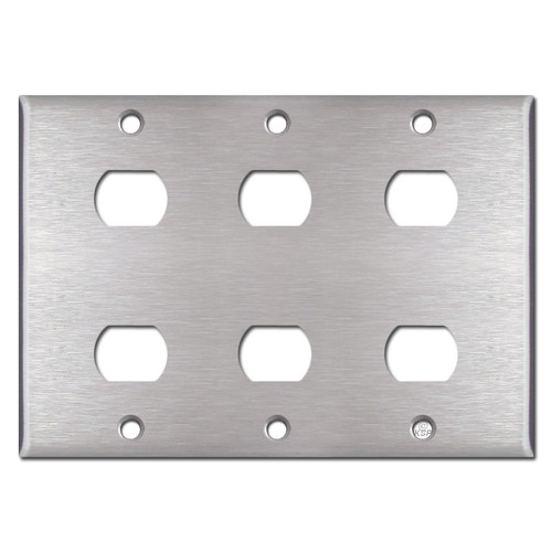 3-Gang 6 Switch Despard Wallplate - Satin Stainless Steel