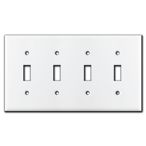 4 Toggle Switch Plate - White